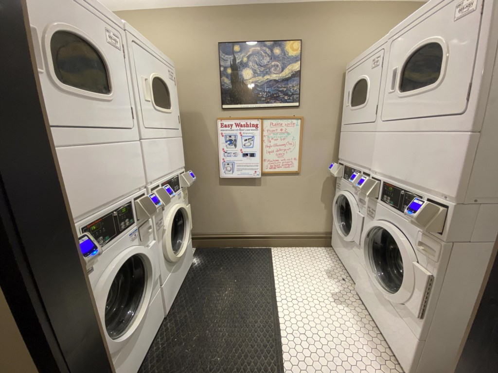 Use your credit or debit card for laundry in upper lobby
