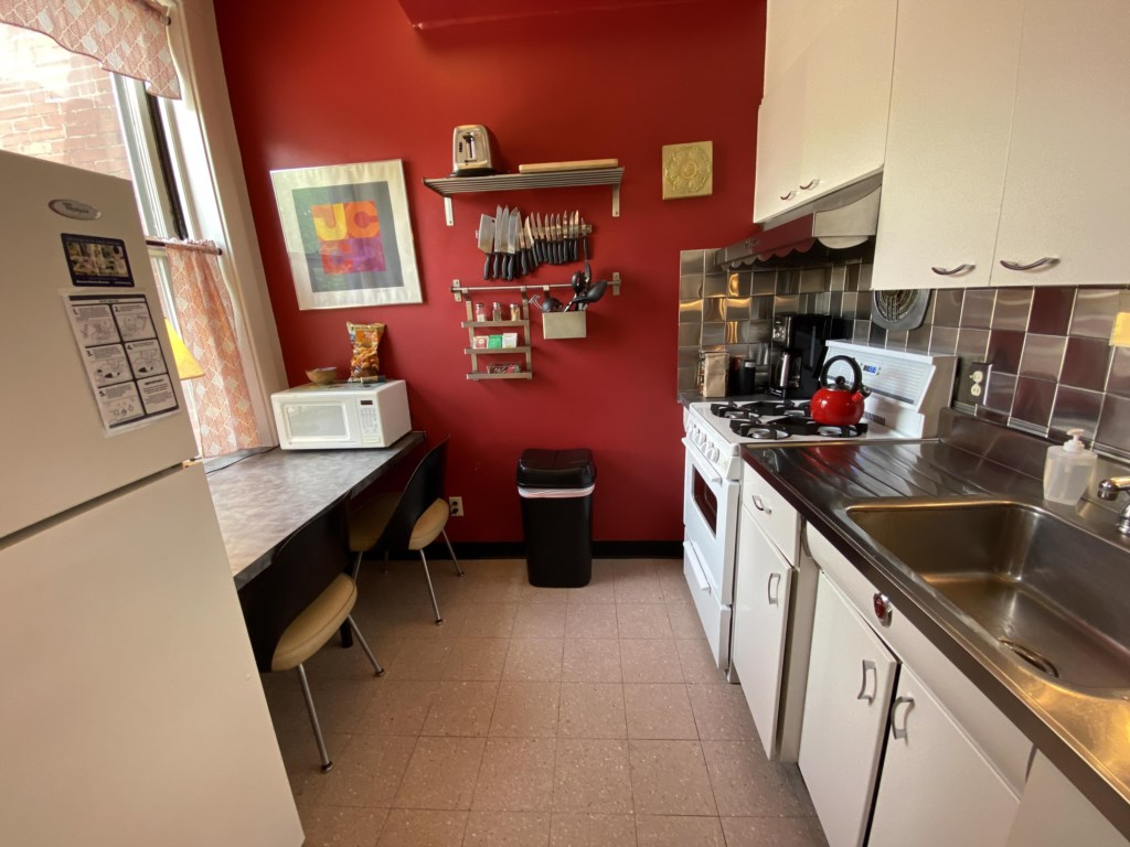 The Schreiber Suite's kitchen is fully stocked with everything you need for basic meal preparation.