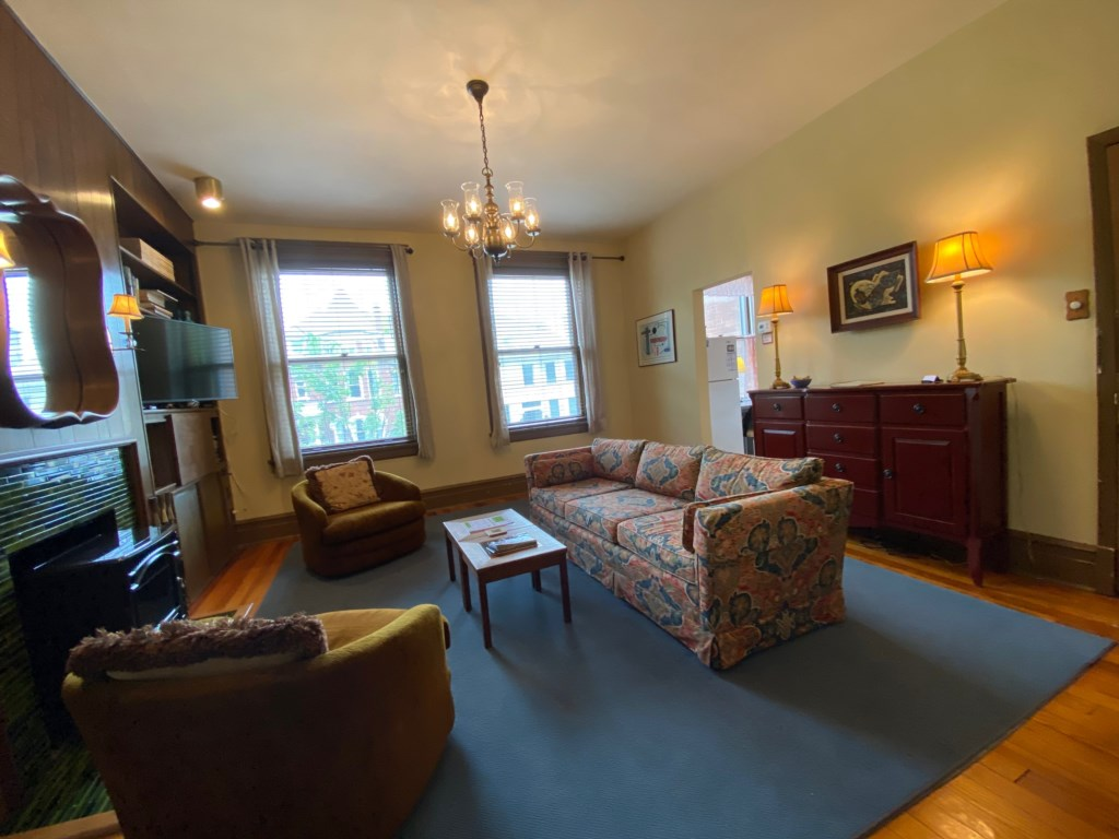 Looking from the bedroom into the living room of the Schreiber Suite.