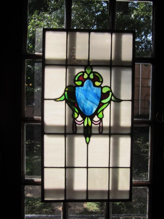 Stained glass on the Shaw Guest Suite's
