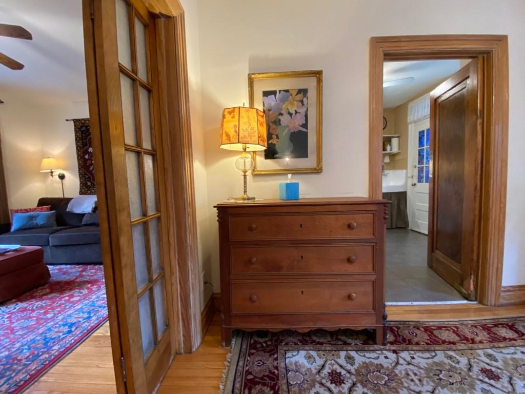 Dresser in bedroom of Shaw Guest Suite.
