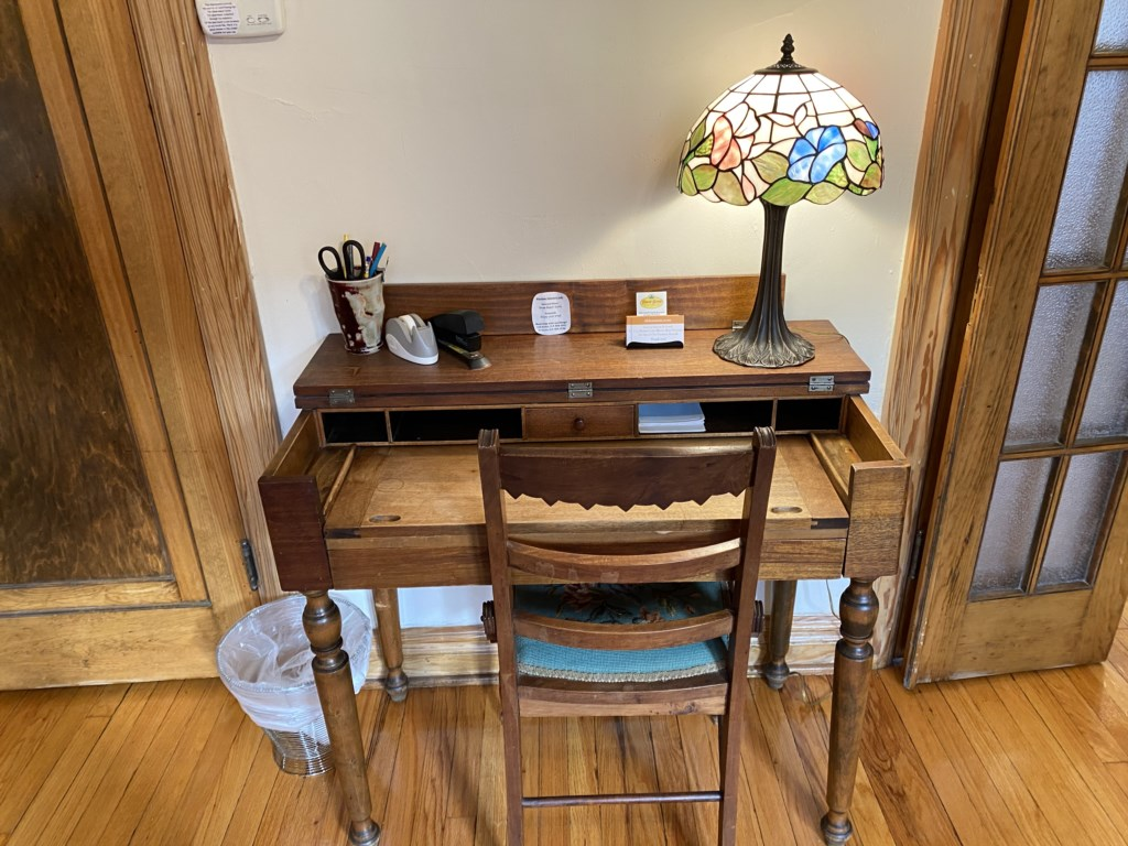 Laptop-friendly writing desk in Shaw Guest Suite.