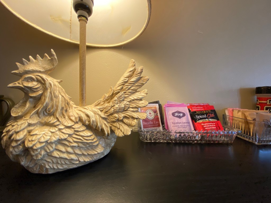 Rooster guards a rotating selection of teas.