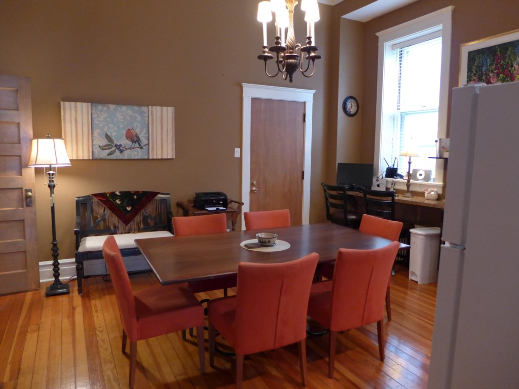 Kitchen in the Ullrich Suite features a table for six, and everything you need for basic meal preparation.