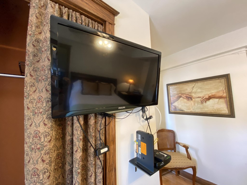 Dedicated high-speed internet access. TV has antenna for local stations and Roku for your streaming subscriptions.