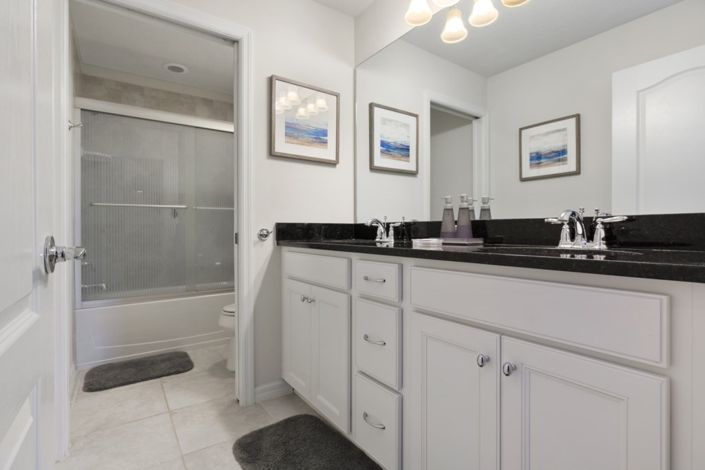 Wonderful double sink vanity with tub shower and toilet