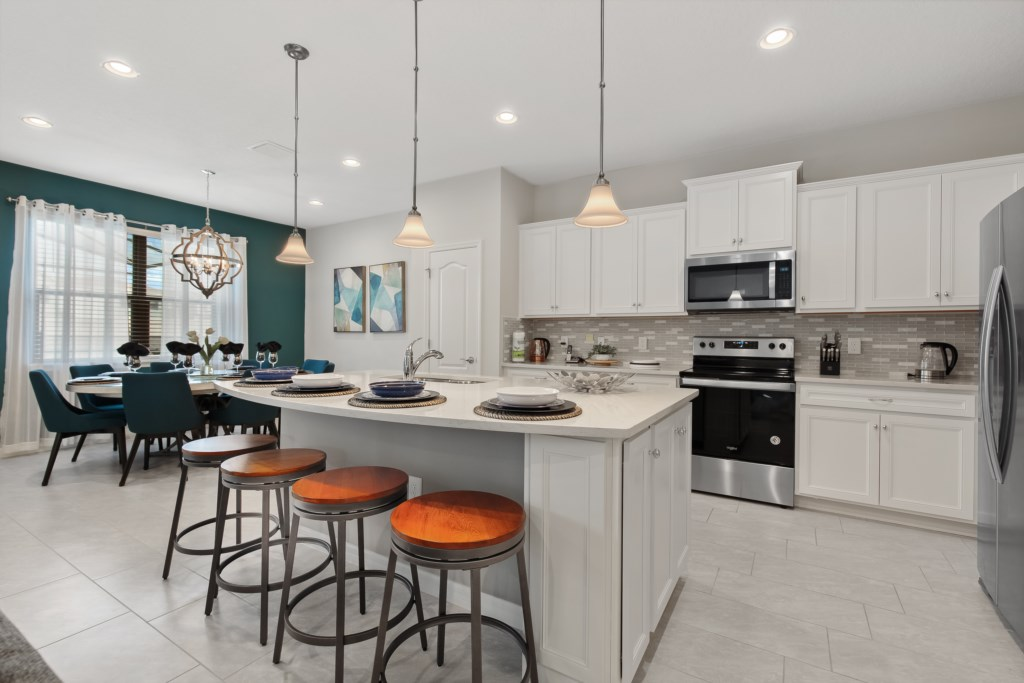 Modern style kitchen with barstool seating