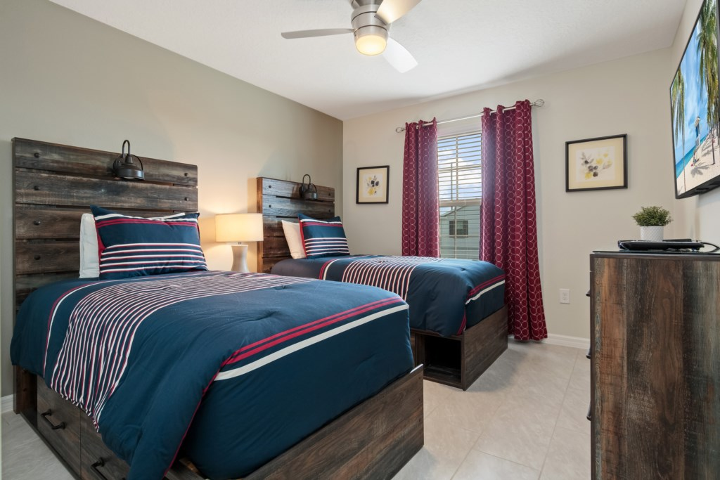Two amazing full size beds with flat screen TV