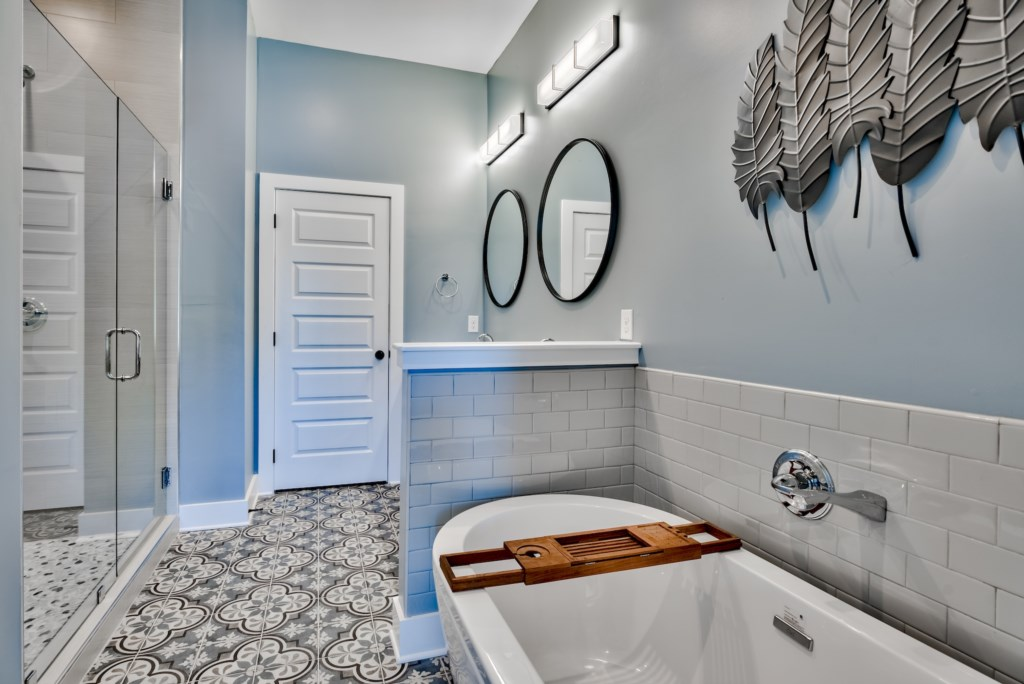 1st Floor Master Bath with large walk-in shower and free standing tub