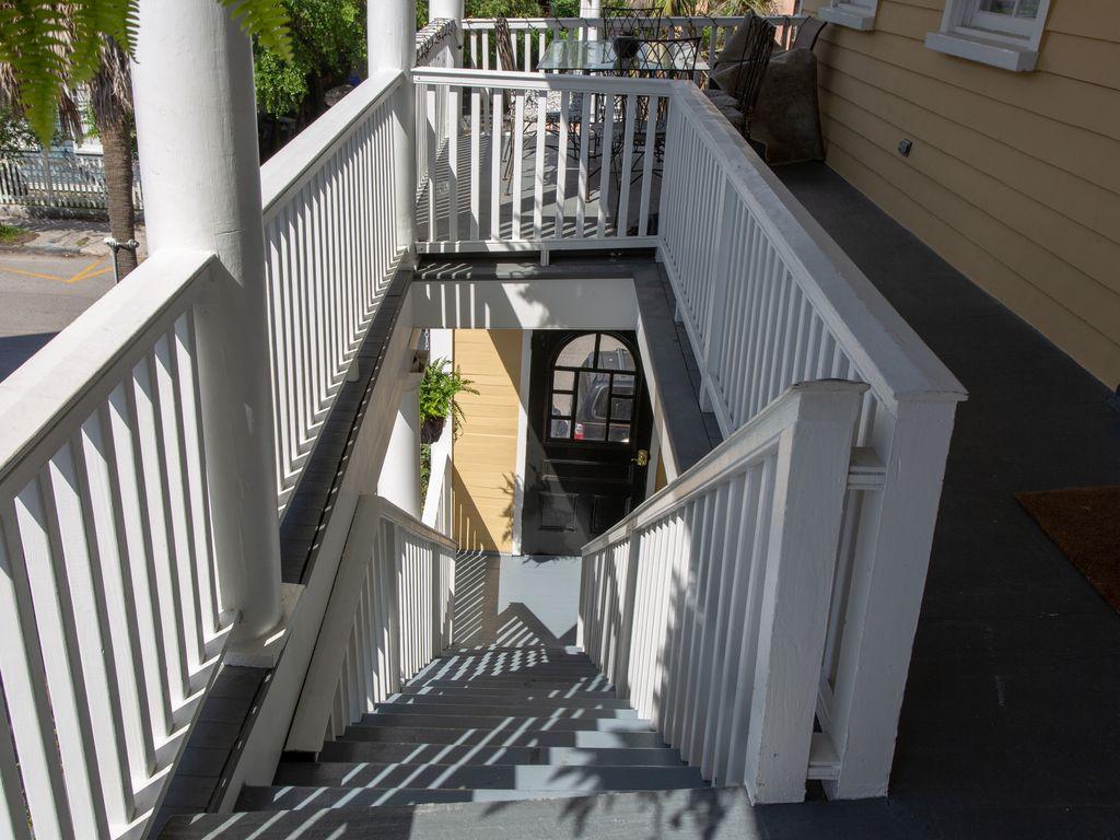 Steps going down to street door.