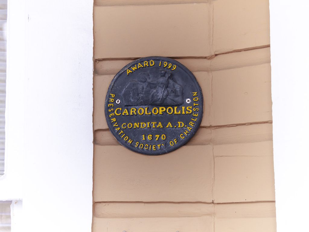 "Preservation Society coveted ""Carolopolis"" award presented to the owner 1999."