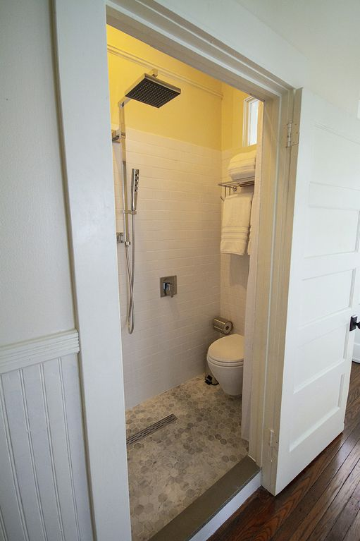 "Looking into ""European"" bathroom. Ingenious use of space  creates full bathroom."