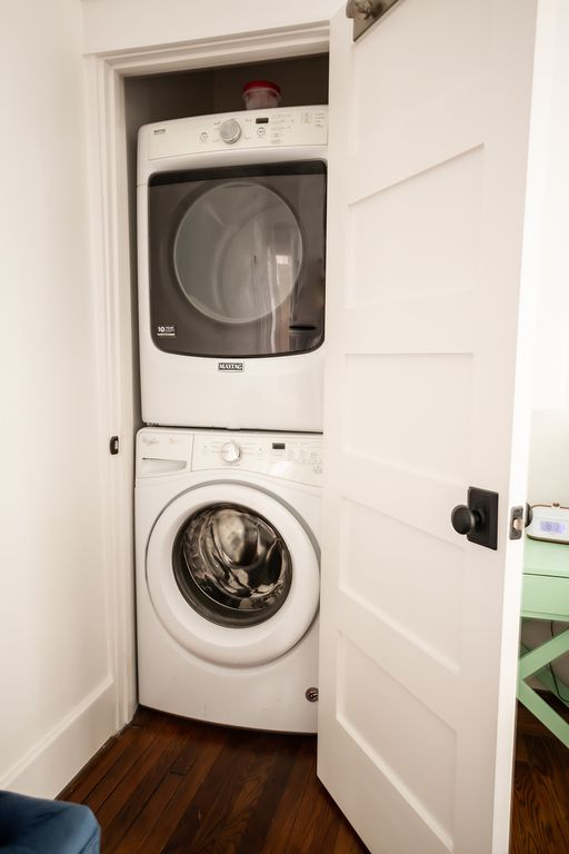 Washer and dryer with laundry pods.