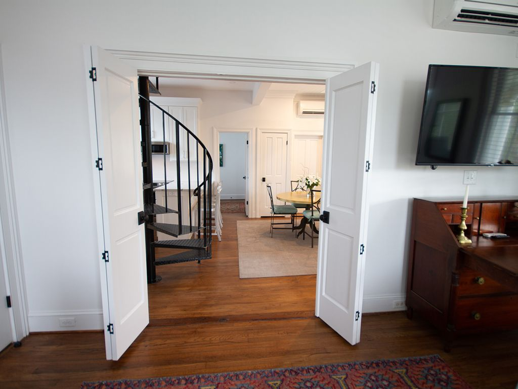 Double doors make grand hospitality space or totally private sleeping space