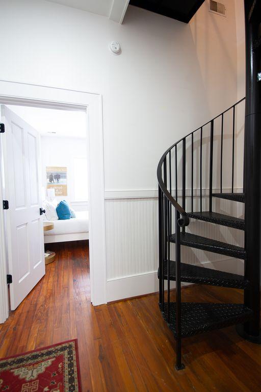 Middle bedroom. Spiral steps to loft room.