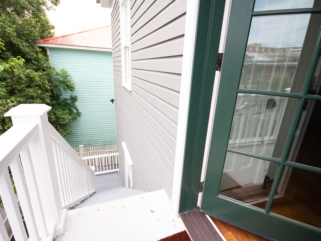 Back door to balcony and back steps.