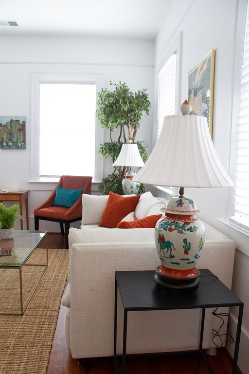 Bright, colorful, comfortable sitting room.
