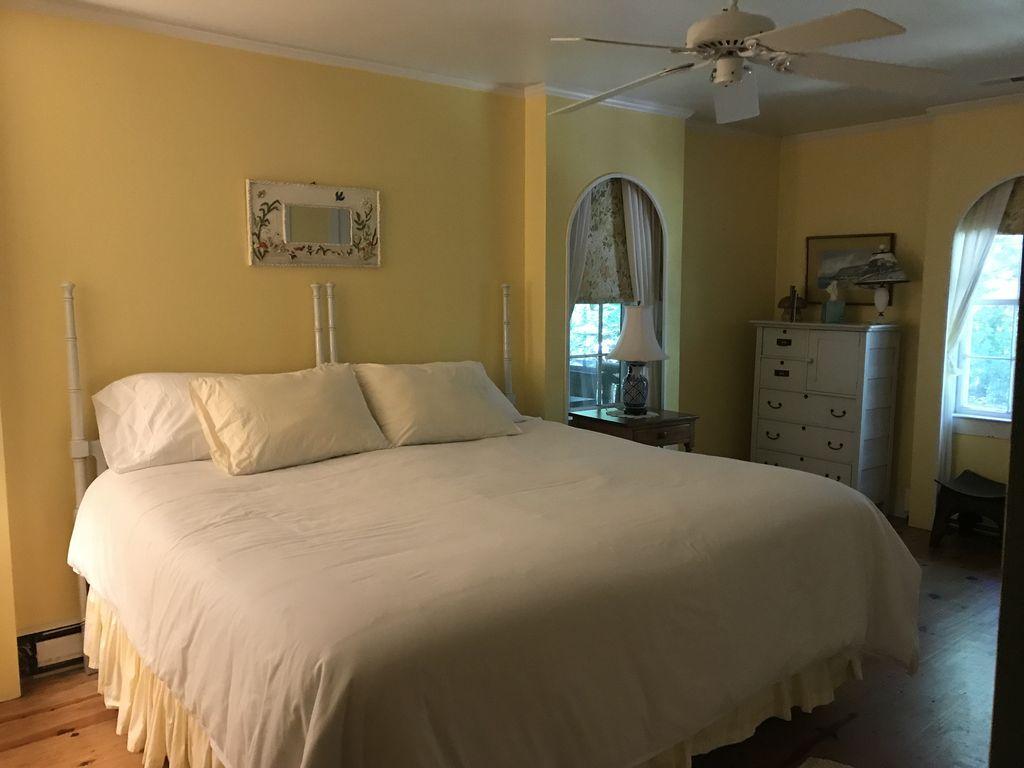 Yellow bedroom #2 overlooking terrace.
