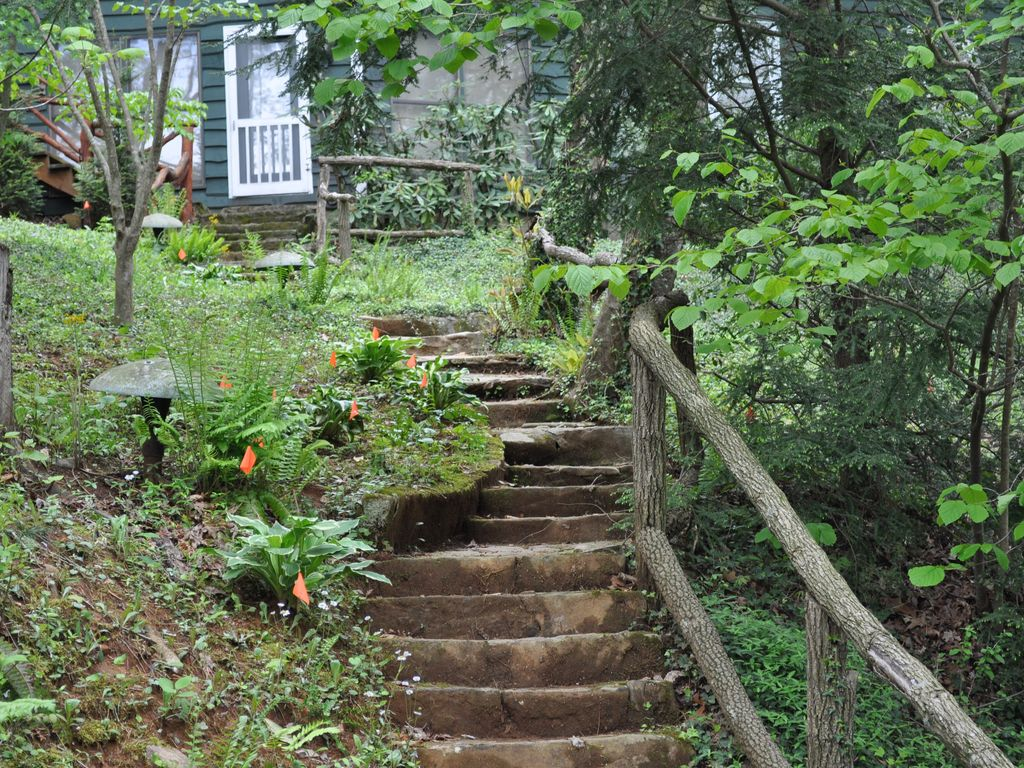 Stairs from house to lake
