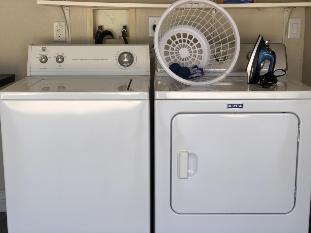 Full size washer & dryer in the garage