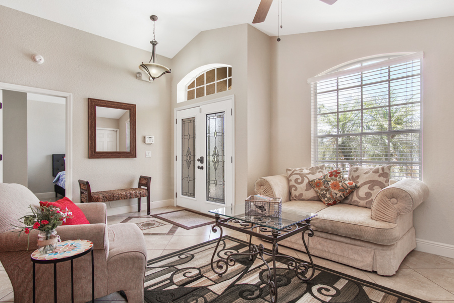 Front seating area with ceiling fan