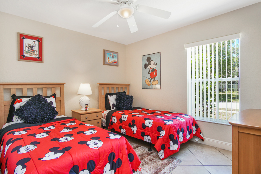 Bedroom 4 - Two Twin beds with Mickey Mouse theme, ceiling fan, 32