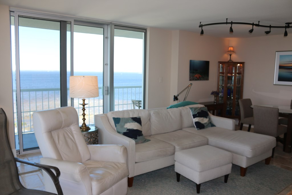 Plenty of room in the living area to relax after a long day at the beach.