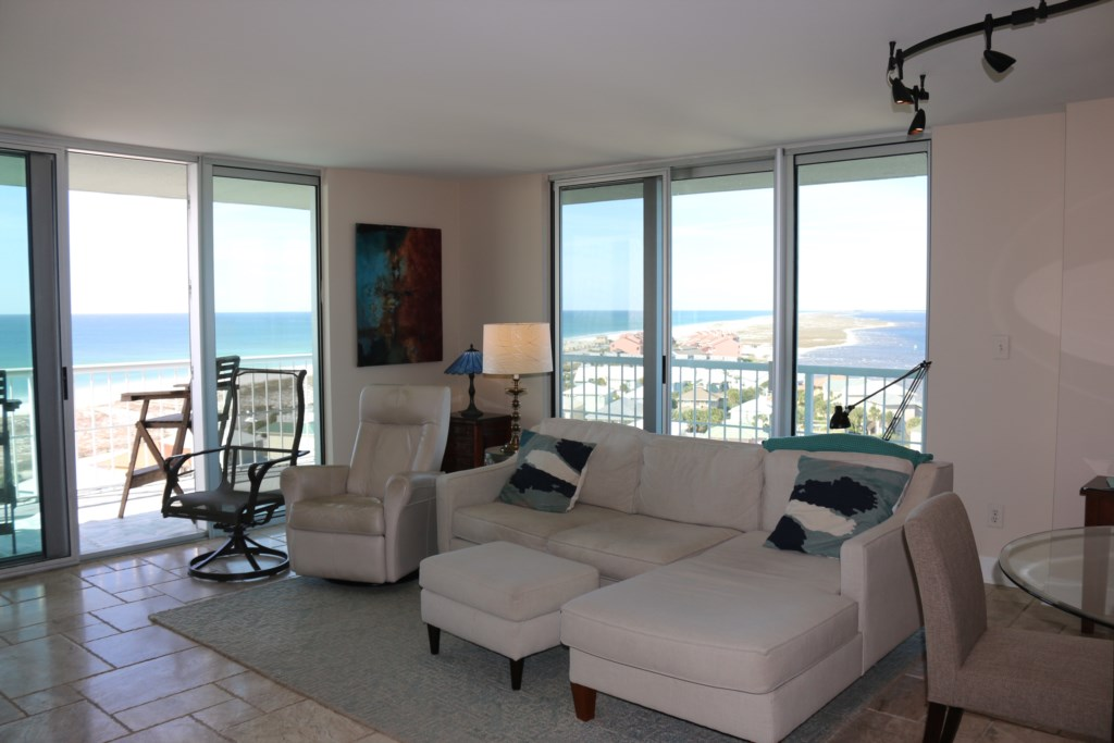 The corner views in this unit will not disappoint.  See the white sand disappear into the emerald waters.