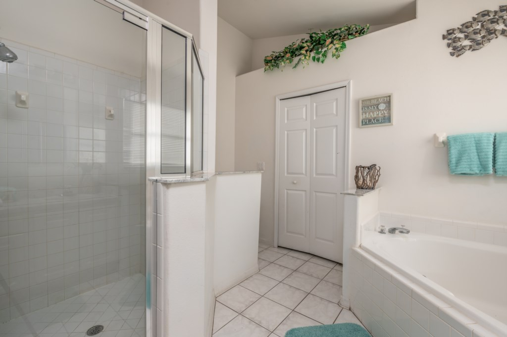 View 3 of stunning bathroom with tub and walk in shower