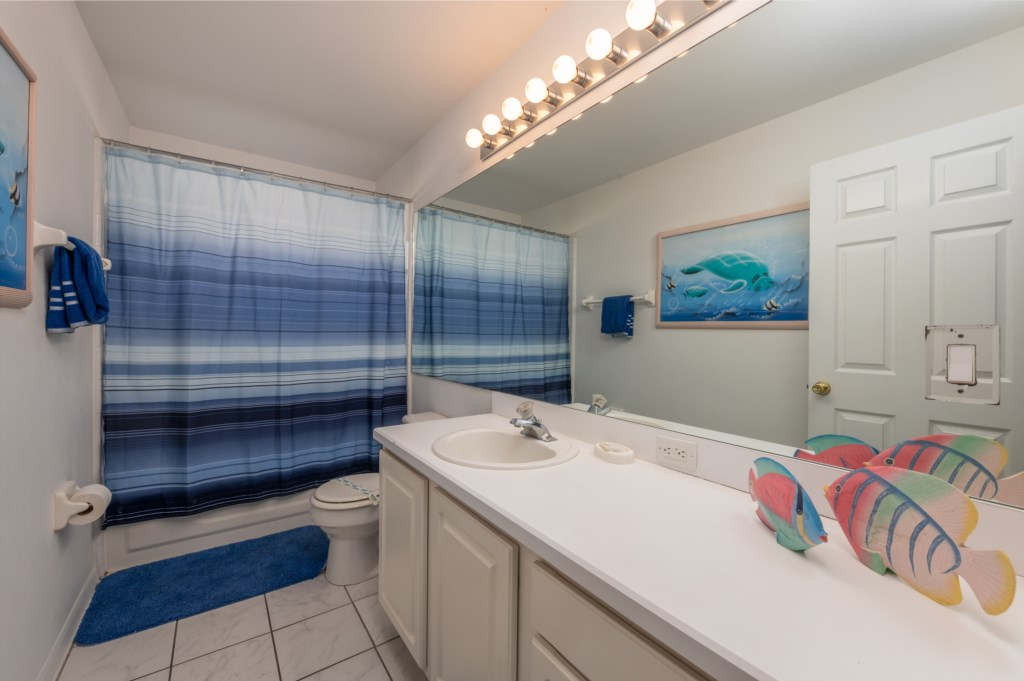 Ocean themed single sink vanity with shower tub