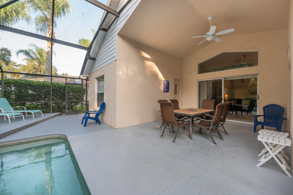 Pool deck with patio furniture
