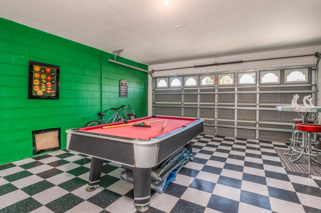 Outstanding game room with pool table