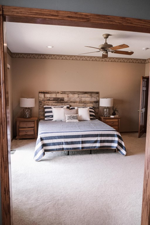 King bed master suite beautifully decorated.