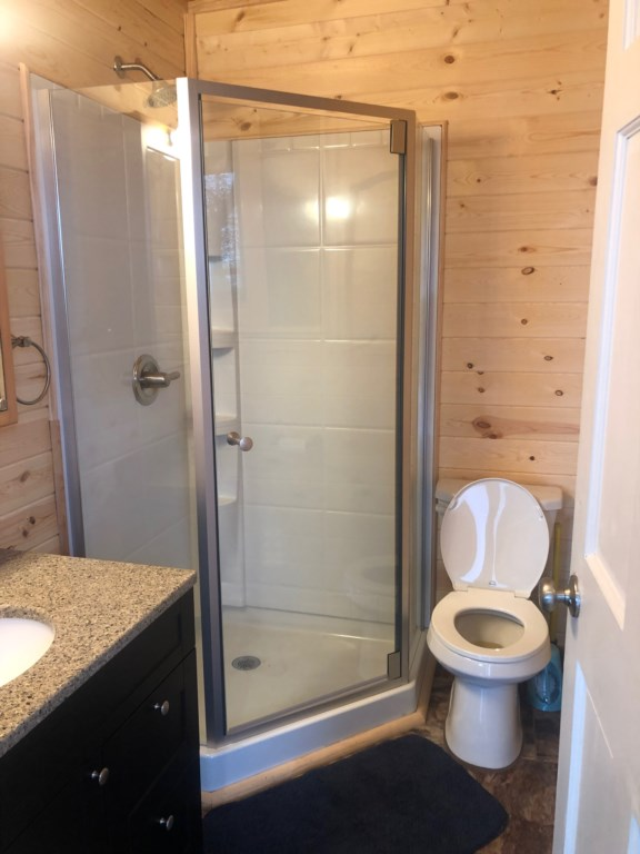 Knotty pine bathroom with walk-in shower.