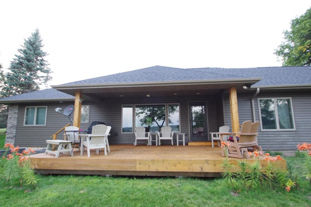Large covered newly remodeled deck.