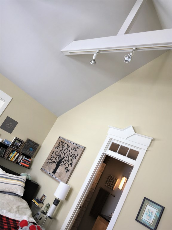 Vaulted ceiling in this bedroom.