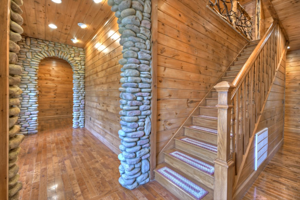 Beautiful wood cabin with stone accents