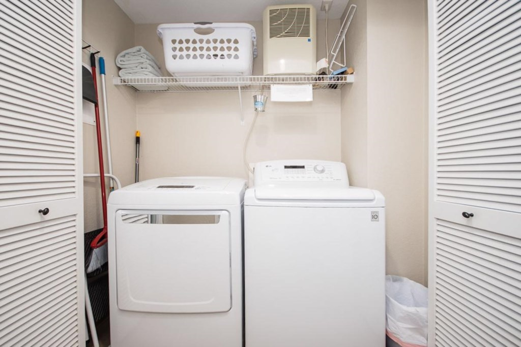 Washer and dryer inside