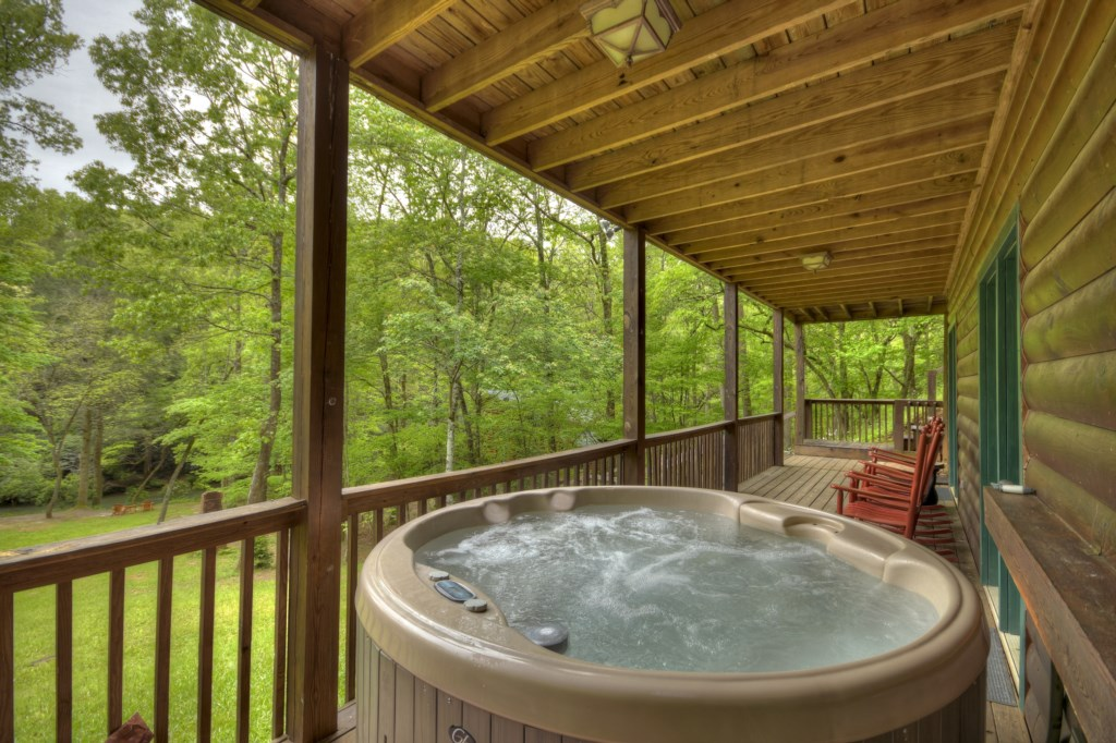 Enjoy a soak in the Hot Tub and take in the amazing views