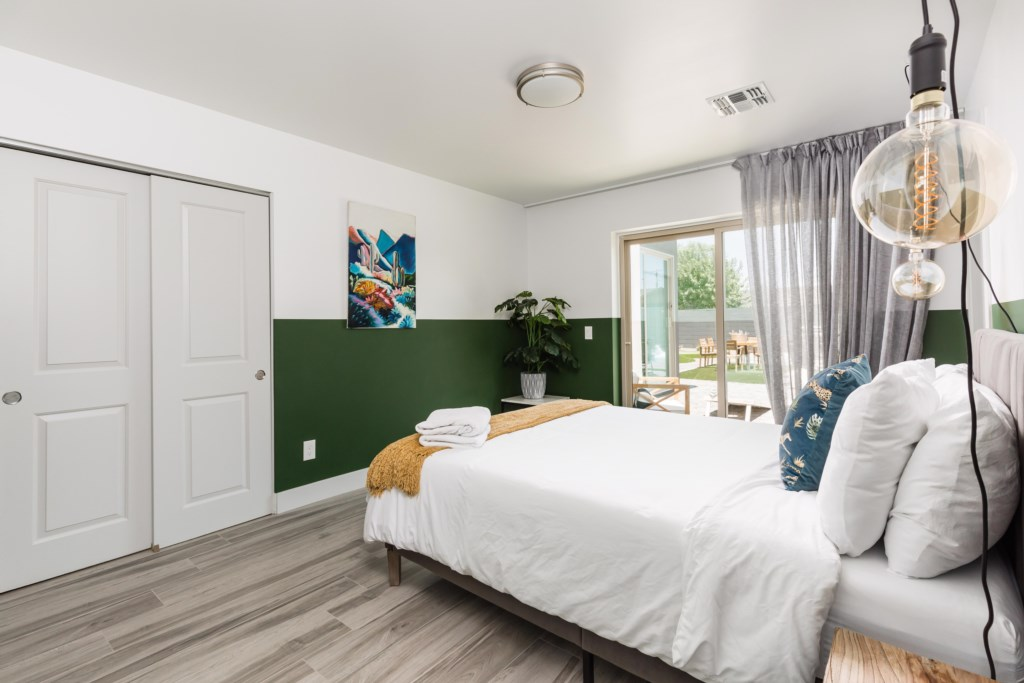 Bedroom has direct access to backyard