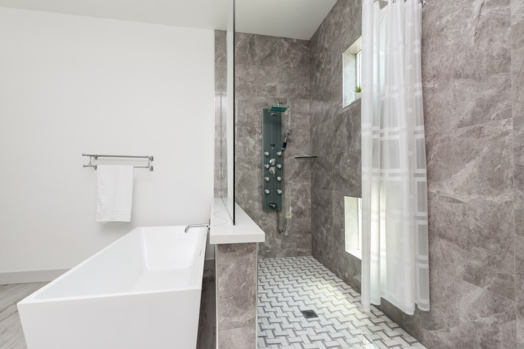 Walk in shower and soaking tub