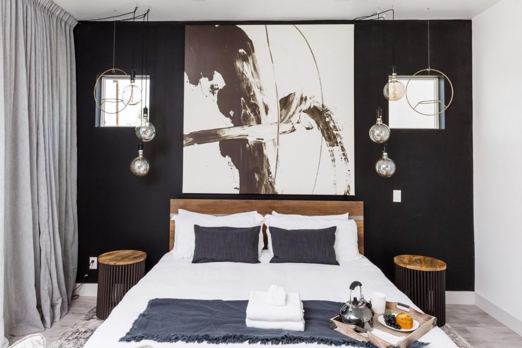 Industrial chic master bedroom