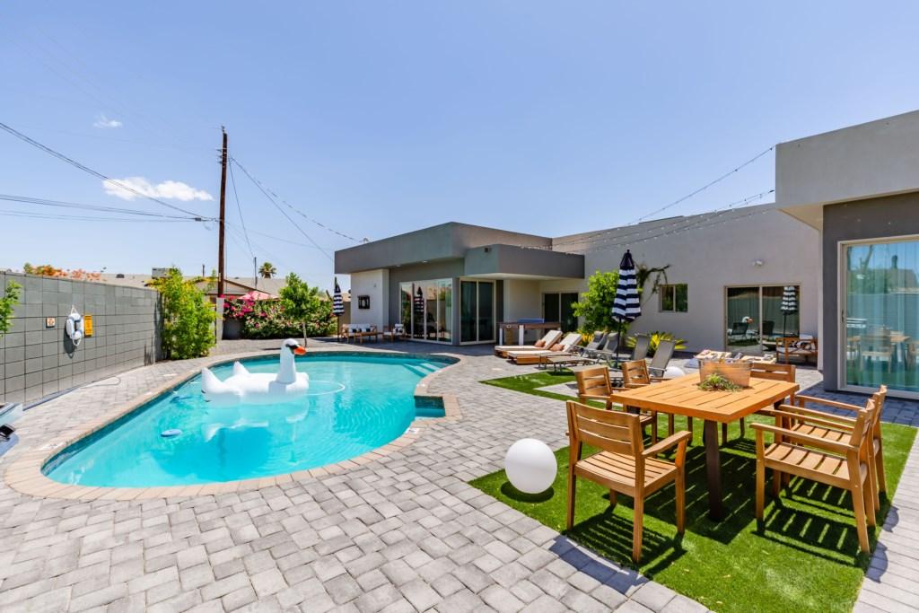 Each house has a nice pool and backyard!