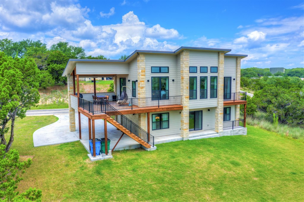 The view of Lake Travis is amazing, right from the outdoor area of the property!