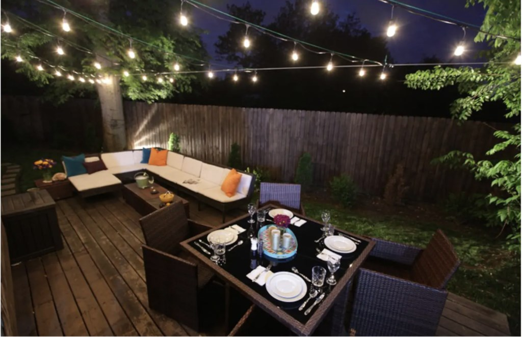 Enjoy dinner outside on the back patio.
