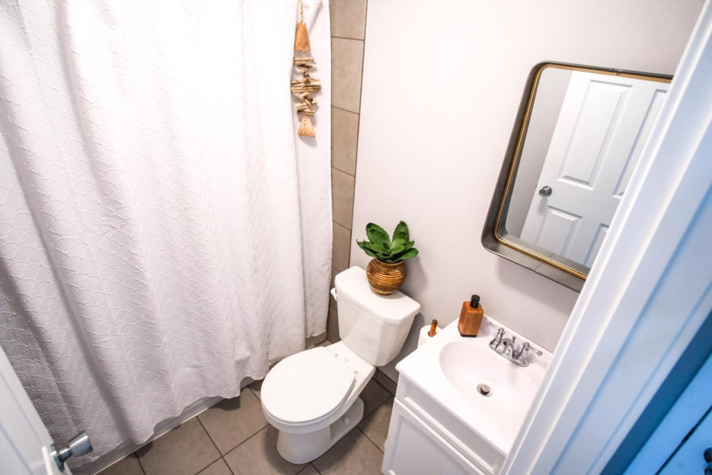 Lower level bathroom with tub and shower combination.