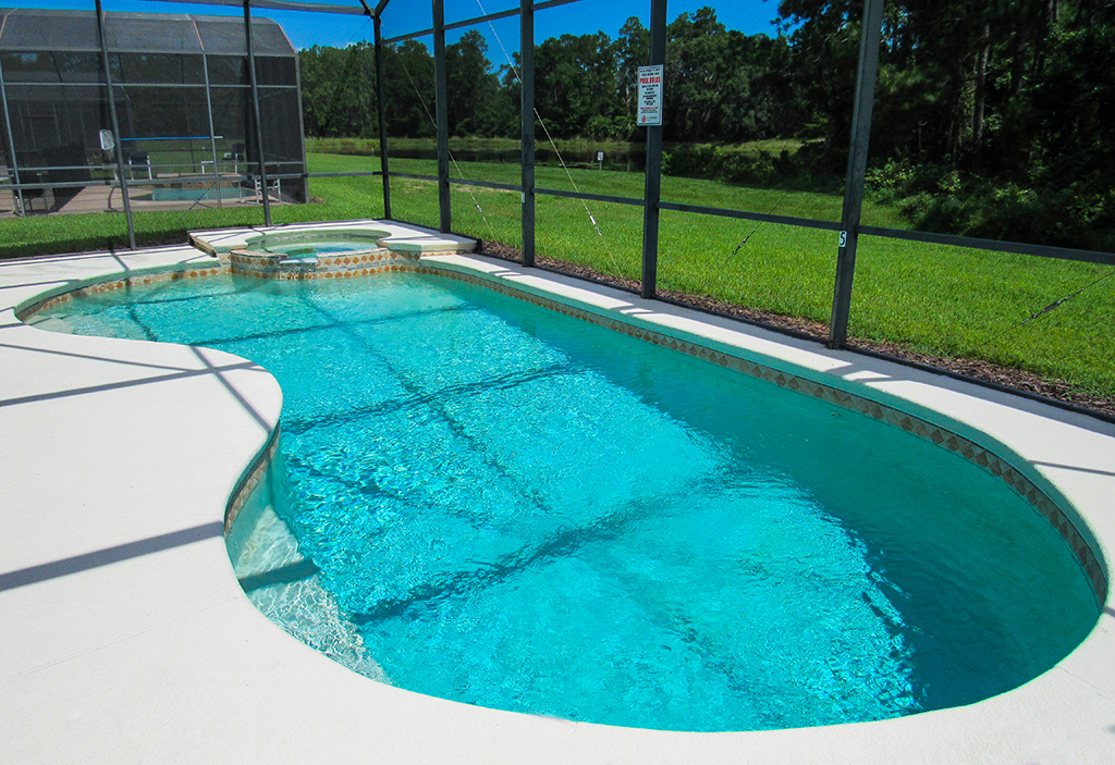 Pool is enclosed to maintain great water quality and increase your enjoyment.