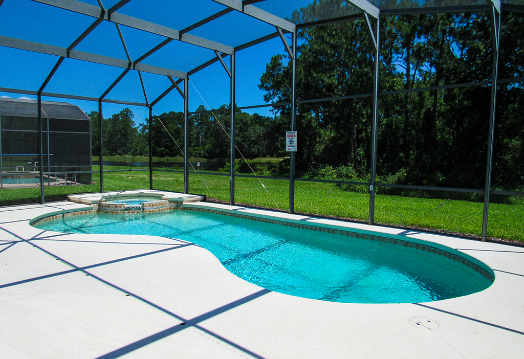 Large pool deck and pool for your enjoyment.