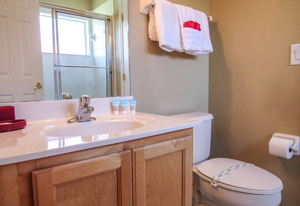 Shared bathroom, located in the middle of both twin bedrooms.