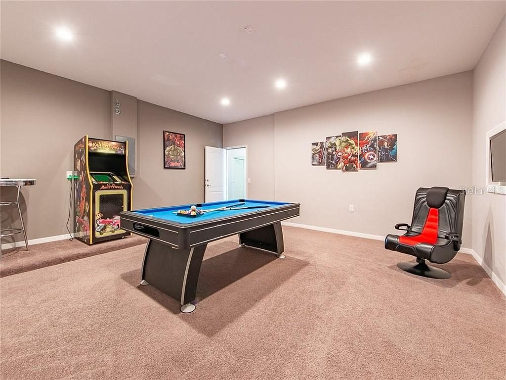 Games Room with Pool Table, Arcade Game Set